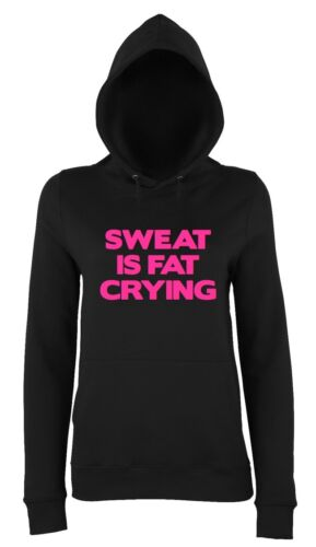 SWEAT IS FAT CRYING Ladies Hoodie 8-18 Workout Gym Running Funny Printed Black