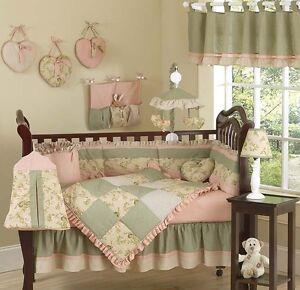 Sweet jojo luxury boutique green flower baby girl bedding - Habitaciones vintage chic ...
