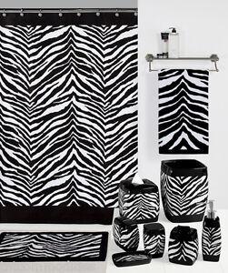 Safari black amp white zebra print bath accessories for Zebra print and red bathroom ideas