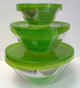 salatsch ssel mit deckel 3 gr en salat sch ssel schale glas glassch ssel ebay. Black Bedroom Furniture Sets. Home Design Ideas