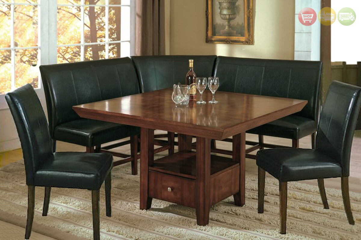 Salem 6 pc breakfast nook dining room set table corner for Dining room table with bench