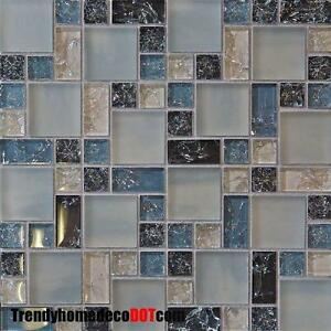 blue crackle glass mosaic tile kitchen backsplash bath wall sink spa