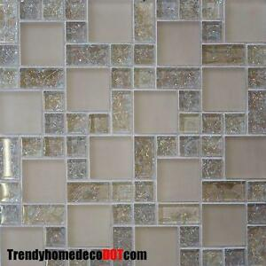 Sample Cream Crackle Glass Mosaic Tile Kitchen Backsplash