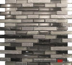 sample marble black gray crystal glass mosaic tile kitchen