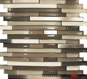 sample stainless steel cream beige linear glass mosaic tile kitchen