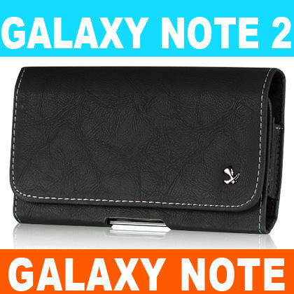 Samsung Galaxy Note II 2 N7100 Leather Holster Pouch Case Belt Clip BLACK #8 in Cell Phones & Accessories, Cell Phone Accessories, Cases, Covers & Skins | eBay