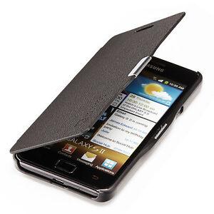 Samsung-Galaxy-S2-i9100-Slim-Flip-Case-Kunst-Leder-Tasche-Schutz-Huelle-Schwarz