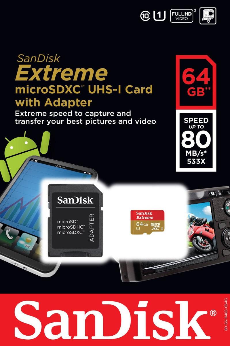 Sandisk Extreme 64gb Micro Sdxc Sd 80 Mb S 533x Uhs I Class 10 Team 1 16gb Usb Card Reader 45mb Sdsdqx 064g U46a