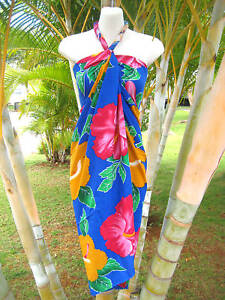 Wrap Dress on Sarong Blue Pk Yell Hb Cruise Luau Cover Up Wrap Dress   Ebay