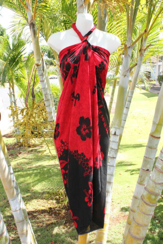 Sarong Red Black Hibiscus Hawaii Hawaiian Pareo Cruise