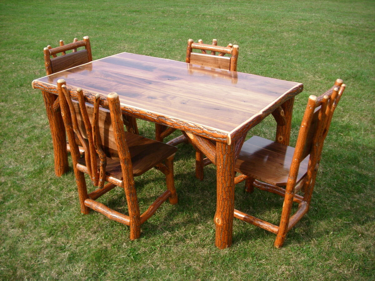 Sassafras walnut rustic log kitchen table 4 chairs amish for How to make a rustic kitchen table