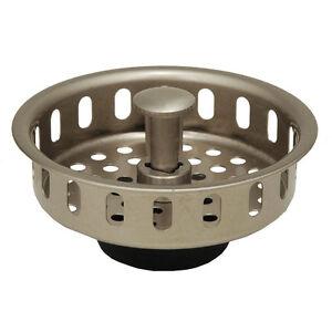 satin nickel kitchen sink drain basket strainer stopper replacement ebay