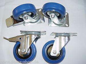 Satz-Blue-Wheels-Lenkrollen-Feststeller-100mm-Transportrollen-140kg-pro-Rolle