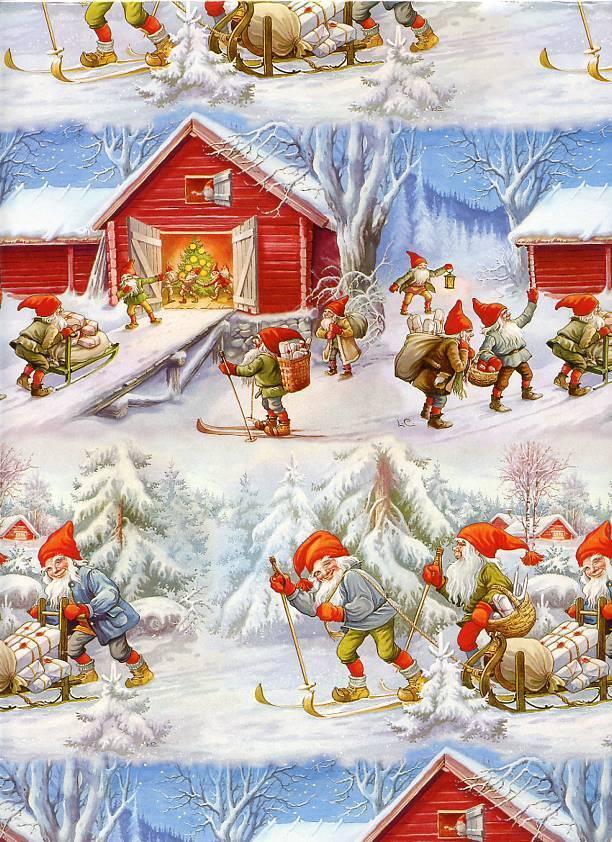 Christmas Gift Wrap by Lars Carlsson Santa Gnome Elf 4325