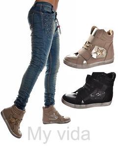 scarpe donna sportive sneakers con lacci e strappi stella