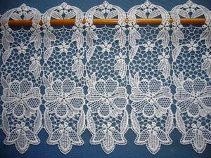 scheibengardine gardine natur 28 cm hoch meterware plauener spitze polyester ebay. Black Bedroom Furniture Sets. Home Design Ideas