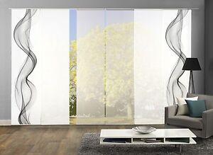 schiebegardinen 6er set digitaldruck rauchschwade grau ebay. Black Bedroom Furniture Sets. Home Design Ideas