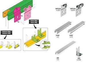 schiebet r beschl ge f r 2 t ren bis 50 kg mit doppel f hrung oben und unten ebay. Black Bedroom Furniture Sets. Home Design Ideas