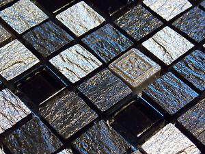 schiefer effekt mosaik fliesen glas naturstein silber schwarz anthrazit fdur1505 ebay. Black Bedroom Furniture Sets. Home Design Ideas