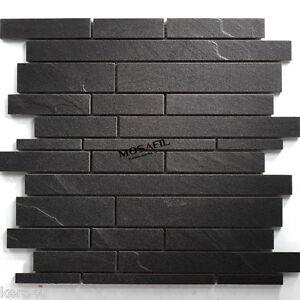 schiefer mosaik feinsteinzeug fliese schwarz boden wand ebay. Black Bedroom Furniture Sets. Home Design Ideas