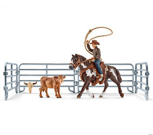 Schleich 41418 Team Roping Rodeo Model Horse With Calf Set