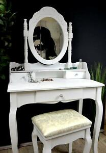 schminktisch mit hocker frisierkommode frisiertisch wei. Black Bedroom Furniture Sets. Home Design Ideas