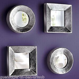 sch ne wandspiegel aus aluminium und glas rund oder eckig wanddeko deko ebay. Black Bedroom Furniture Sets. Home Design Ideas