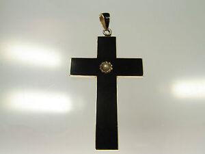 Schoenes-antikes-Emaille-Kreuz-585-Gold-mit-schwarzer-Emaille-Perle-um-1900