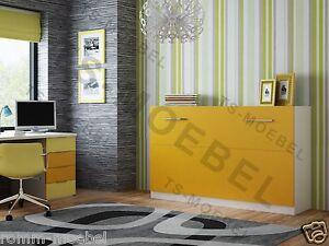 schrankbett wandbett klappbett 50 90x200 cm quer holzfarbe wei orange ebay. Black Bedroom Furniture Sets. Home Design Ideas
