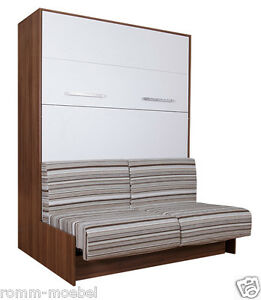 schrankbett wandbett klappbett sofa classic 160x200 cm holz kernnussbaum weiss ebay. Black Bedroom Furniture Sets. Home Design Ideas