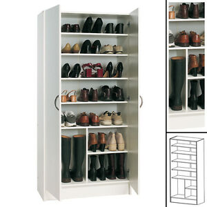 schuhschrank weiss gross kommode schrank dielenschrank schuhregal flurschrank ebay. Black Bedroom Furniture Sets. Home Design Ideas