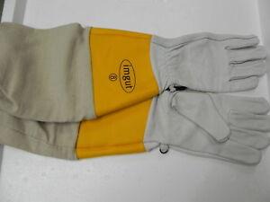 Schutz-Handschuhe-Gr-11-gelbe-Stulpe-Leder-Imkerei-Imker-bee-Schutzhandschuhe
