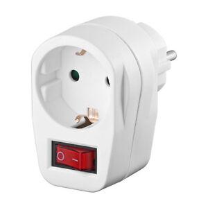 Schutzkontakt-Zwischensteckdose-Schalter-2-polig-Schuko-Standby-Weiss-4403