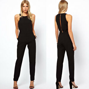 schwarz damen catsuit overall sexy hose jumpsuit rompers. Black Bedroom Furniture Sets. Home Design Ideas