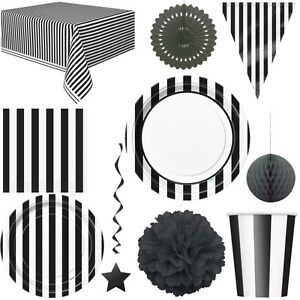 schwarze streifen party weiss deko einweg geschirr geburtstag partydekoration ebay. Black Bedroom Furniture Sets. Home Design Ideas