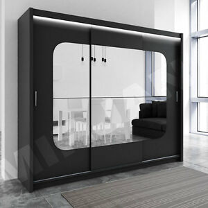 schwebet renschrank bochum 250cm kleiderschrank schiebet r led mit spiegel ebay. Black Bedroom Furniture Sets. Home Design Ideas