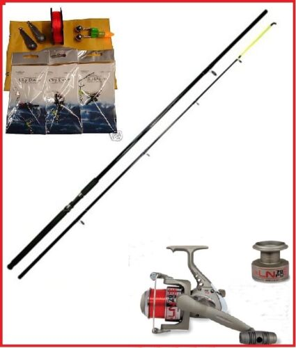 Sea fishing beach pier rock starter set kit rod reel for Rock fishing rigs
