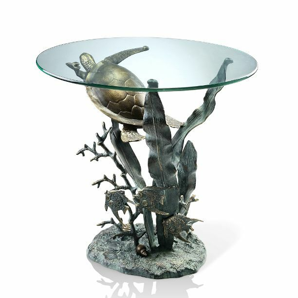 Sea Turtle Tropical Fish End Accent Table Metal Coastal