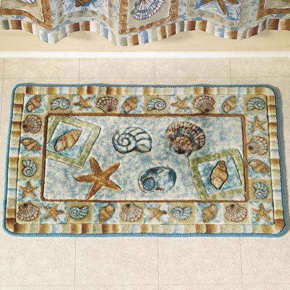 Seashell Shower Bath Mat Rug Ocean Beach Sea Shell Nautical Home Bathroom  New