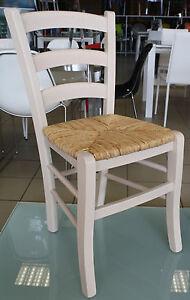 Sedia Legno seduta Paglia colore Anilina Bianco stile rustico cucina Paesana  eBay