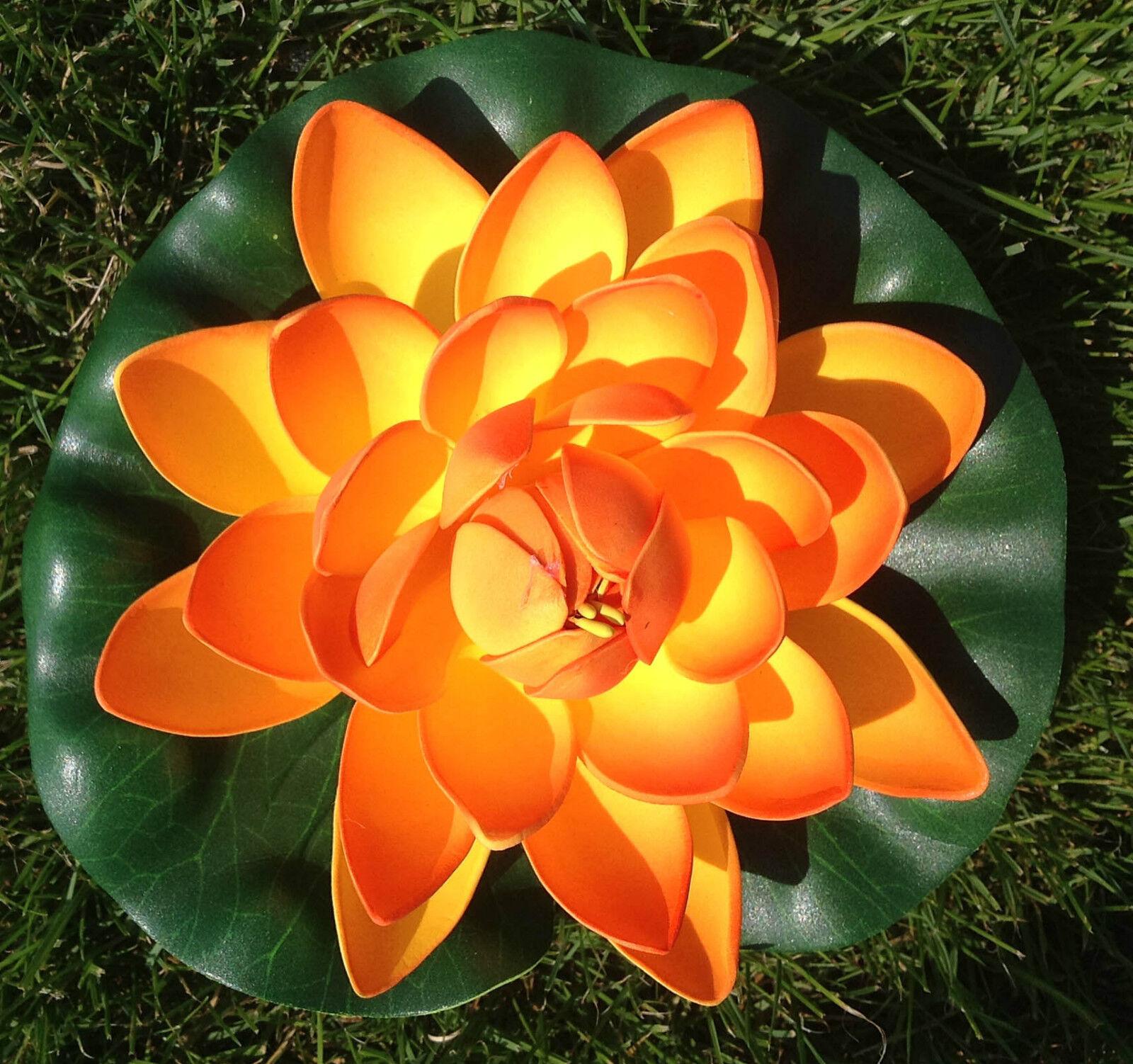 Seerose Lotos 17 cm groß Blumen sehr original  Deko Teichrose orange