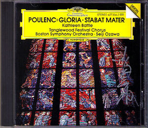 Seiji-OZAWA-Signiert-POULENC-Gloria-Stabat-Mater-DG-CD-Kathleen-Battle-Boston-SO