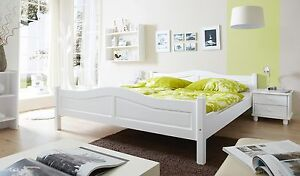 seniorenbett 140x200 cm doppelbett holzbett massivholzbett landhaus bett wei ebay. Black Bedroom Furniture Sets. Home Design Ideas