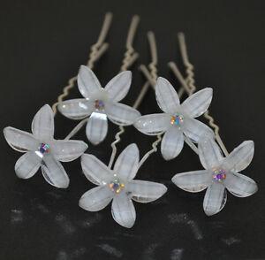 set 10 haarnadeln lilie weiss hochzeit braut haarschmuck blume strass tiara wei ebay. Black Bedroom Furniture Sets. Home Design Ideas