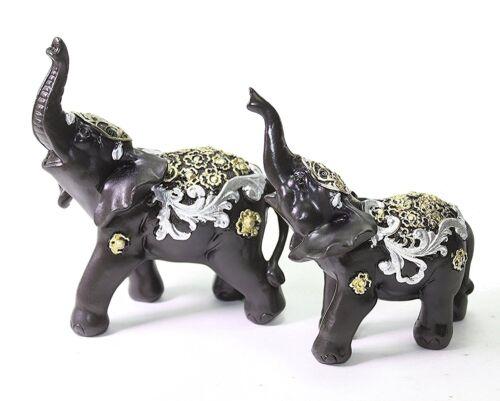 set of 2 feng shui black elephants trunk statue lucky figurine gift home decor ebay. Black Bedroom Furniture Sets. Home Design Ideas