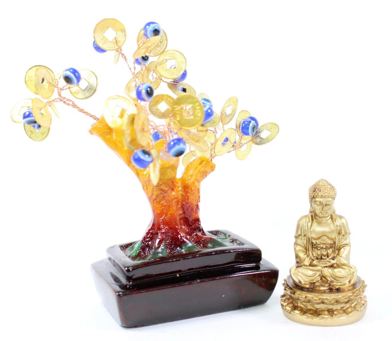 Set Of 2~Feng Shui Gold Buddha Blue Evil Eye Money Tree
