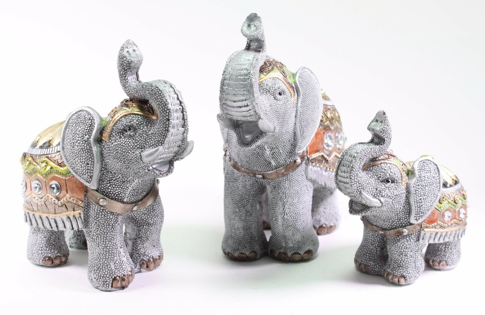 Set Of 3 Feng Shui Gray Elephants Trunk Statue Lucky