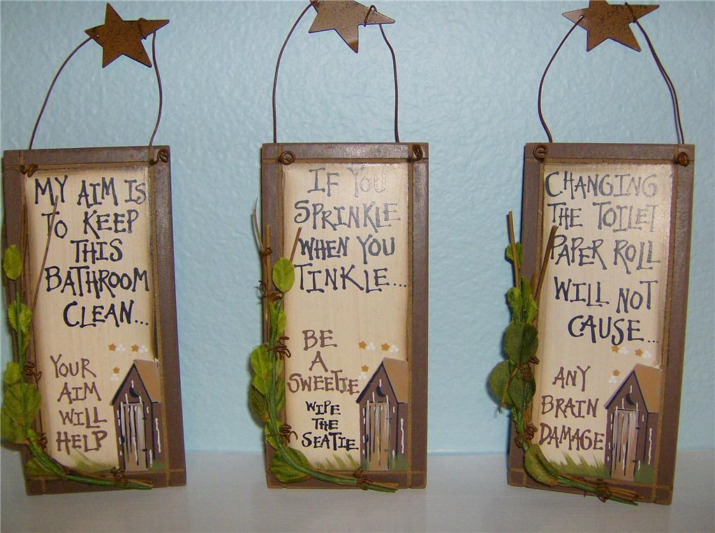 Primitive Outhouse Country Bathroom Home Decor Funny Signs Set Of 3