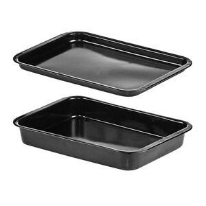 set of 2 large black speckled enamel oven baking. Black Bedroom Furniture Sets. Home Design Ideas