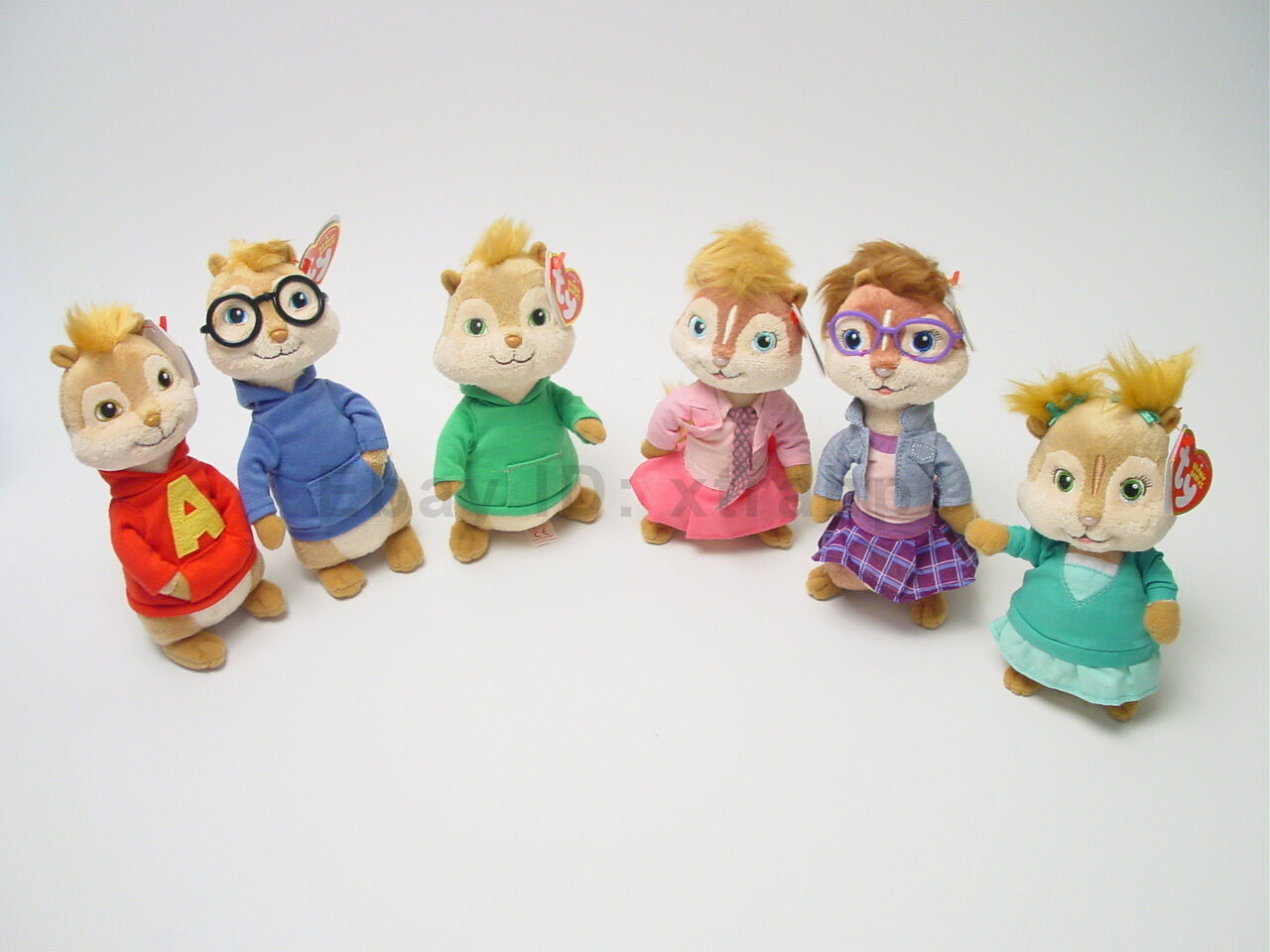 Set Of 6 Alvin And The Chipmunks Ty Beanie Babies